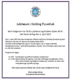 Indbydelse til jubilæum i Kolding og om Bent Holgersen | Nordsjællands Svæveflyveklub